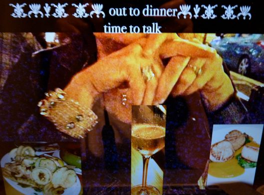 Talk, drink, eat. Photocollage by Julie Seyler.