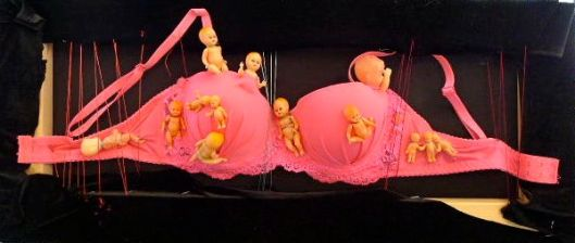 Pink push-up bra.  Julie Seyler.