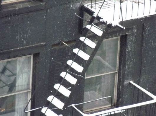 Fire escape on 2nd ave after the storm.  2.9.13