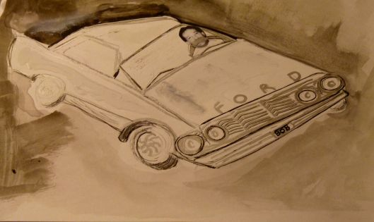 """Bob behind the wheel""  Mixed media drawing ."
