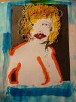 Mae West: having fun by Julie Seyler.  Mixed media on paper