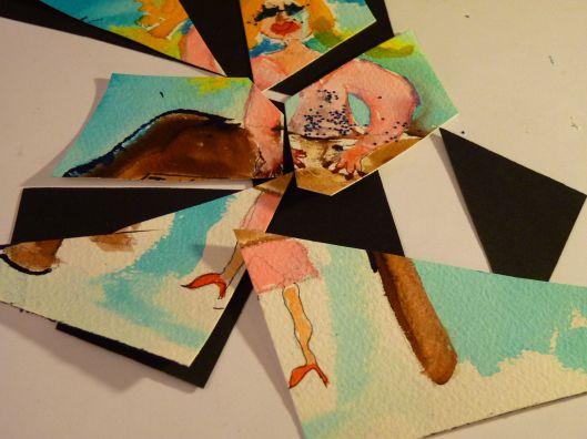 """outta work"".  cut up watercolor by Julie Seyler"