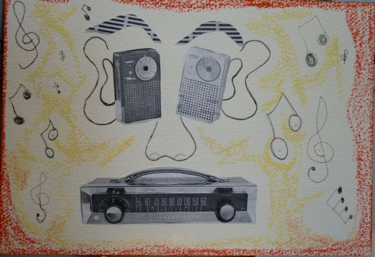 Transistor Head.  Collaged drawing by Julie Seyler