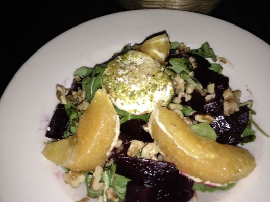 beet and goat cheese and orange salad