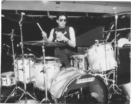 Lee on drums