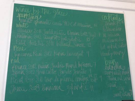 Blackboard of wines.