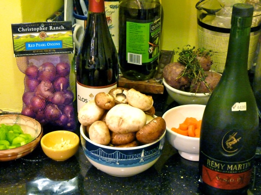 Pearl onions, carrots, onion, garlic, red wine, mushrooms, cognac