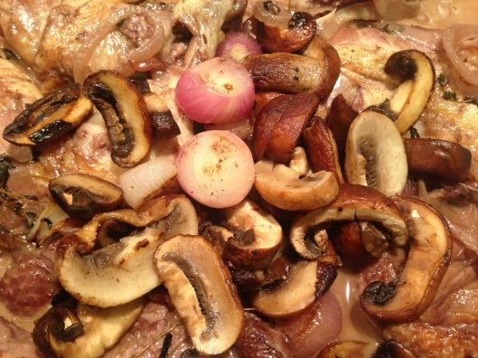 The finishing touch: pearl onions and mushrooms