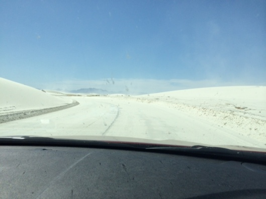 The main road at White Sands National Park