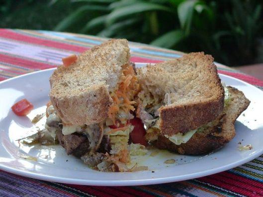 Steak sandwich. San Marcos de Atitlan, Guatemala.