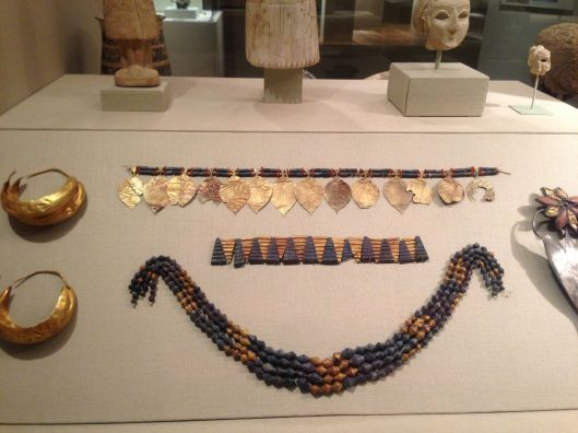 Jewelry found at the Royal Tomb of Ur. 2600-2200 B.C. Metropolitan Museum of Art.