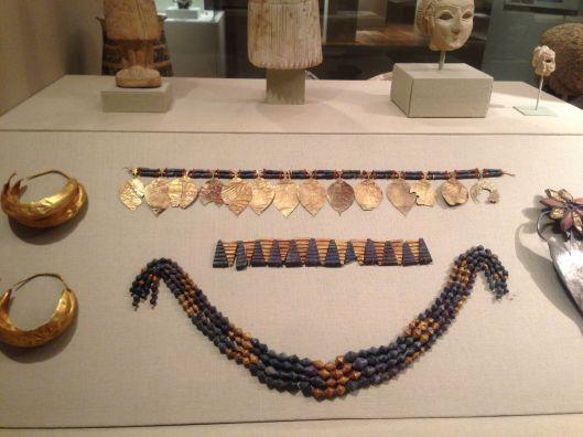 Jewelry found at the Royal Tomb of Ur. 2600-2200 B.C. Metropolitan Museum of Art.