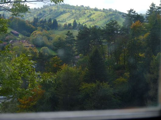 View of Transylvania landscape from inside Bran Castle.