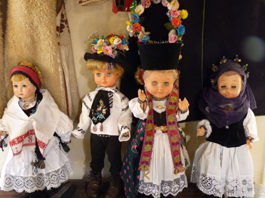 Dolls in traditional Romanian peasant dress. Viscri, Romania.