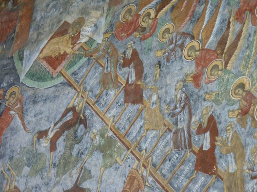 Detail of wall of Sucevita showing how difficult it is to climb the ladder to heaven