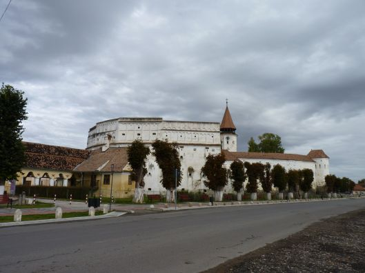 The exterior of the fortress and fortified church in Prejmer.