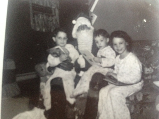 Jimmy, Santa, me, and my older sister Mary.