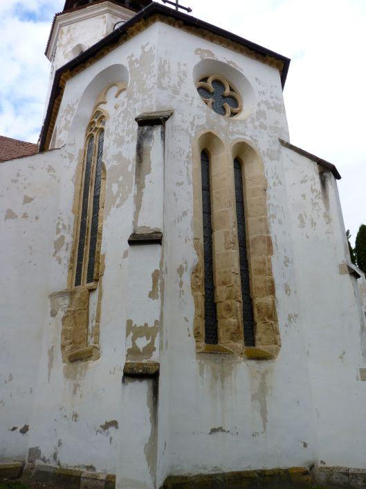 Looking up at the 13th century Saxon church at Prejmer
