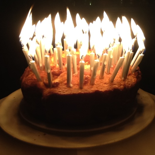 60 candles with cake:side
