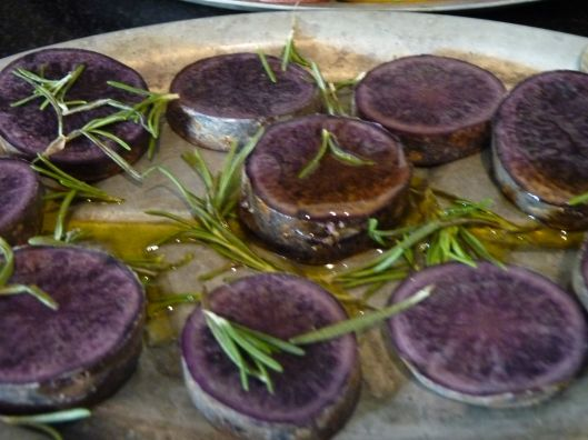 purple potatoes and rosemary