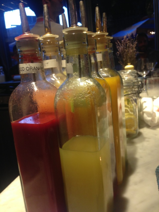 Elixirs on the bar at Santina.